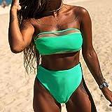 B/H Damen Retro One Piece Badeanzug,Geteilte einfarbige Badebekleidung, bedrucktes Netz, Tube Top-S,Einteiliger sexy Sportlich Beachwear