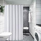 Weddecor Duschvorhang, schimmelresistent, 100 prozent Polyester, mit 12 Haken, waschbar, 180 x 180 cm, klassische geometrische Pfeile