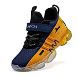 Breathable-Lightweight Slip-on Outdoor-Indoor Mesh-Boys Tennis Shoes Kids Trail Running Shoe for School Girls Athletic Sneakers Sports Fitness Yellow Blue Size 7