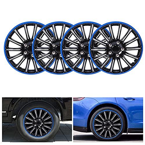 Tapas De Cubo De Centro De Rueda tapas de cubo ce Automóviles Hubcaps Ruedas 4pcs 15in Rueda Hubcap Snap en tapas de cubo Cubierta Negro + Azul Ajuste compatible con R15 Tire & Steel Center Logotipo d