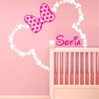 Mickey Minnie Mouse Wall Art Decal Sticker DIY Mickey Mouse Ears Minnie with Bow Baby Name Wall Stickers Custom Girl Bedroom