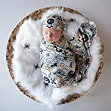 Giggle Angel Newborn Receiving Blanket with Matching Beanie Swaddle Blanket Set