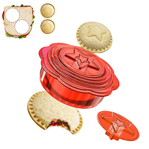 Sandwich Cutter and Sealer, Uncrustables Decruster Sandwich Maker, 6 in 1 DIY Sandwich Cutters for Kids, Boys and Girls, Great for Lunchbox and Bento Box, Red