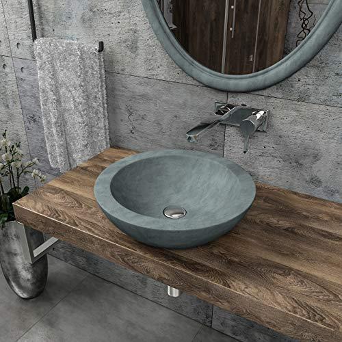 KERABAD Design Betonwaschbecken Waschtisch Aufsatzwaschbecken Waschschale aus Beton Grau rund 41,5x41,5x11,5cm KB-B508