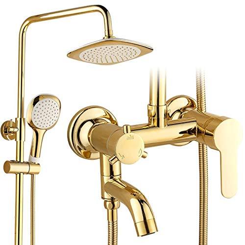 WBHD badkamer regendouche kraan set, douchesysteem 3 functie Set douchekraan kan worden gedraaid met regen douchekop & handheld douchekappen bezitten automatische Nozzie schoonmaken - goud