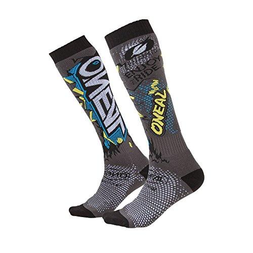 O'NEAL | Mountainbike Motocross Socken | MTB Downhill Freeride | Schweißabsorbierend, Verstärkter Fersen & Sohlenbereich | Pro MX Villain | Unisex | Erwachsene | Grau | One Size