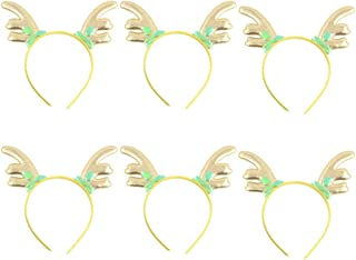 Lurrose 6pcs Christmas Reindeer Antler Headband Animal Headwear Deer Glitter Xmas Hair Hoop with Holly Leaf Holiday Costume Favor for Adult Children Christmas Party Photo Props