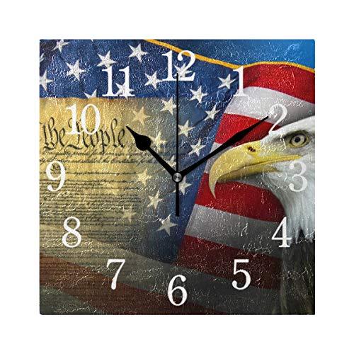 BKEOY Wanduhren mit Vintage-Maleroberfläche, Patriotische Symbole, Flagge, Amerika-Uhr, quadratisch, geräuschlos, Nicht tickend, Heimdekoration