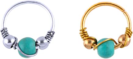 Exmart Gold Plated Nose Ring(Set of a pair)