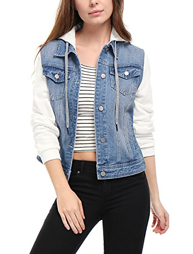 Womens Layered Drawstring Hood Sky Blue Denim Jacket with Pockets