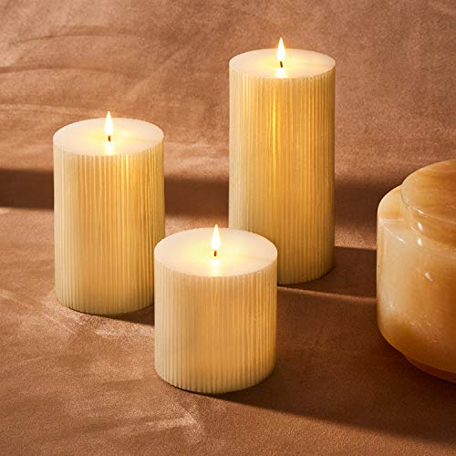 3D Flickering Flameless Candle Set - 4 Inch Diameter Large Pillar Candles, Battery Operated, Shimmering Gold Wax, Realistic Wick and Flame, Remote Control & Timer Included - Set of 3