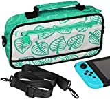 Switch Travel Bag - Portable Shoulder Bag for Nintendo Switch [New Leaf Crossing Design] Storage Switch Console, Dock, Charging Cable, Joy con Grip, Holds up to 10 Game Cards Slots