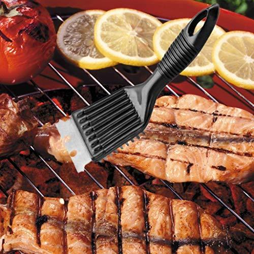 Fliyeong - Cepillo limpiador de parrilla para barbacoa (acero y acero), color negro