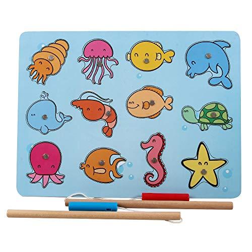 B&Julian® Angelspiel Holz Magnet mit 12tlg. Magnetische Tier Holzpuzzle Holzspielzeug Fische Angeln Spiel Motorikspielzeug Lernspielzeug für Kinder ab 18 Monate(Bubble)