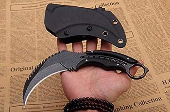 Akatomo Couteau à lame fixe Lame D2,manche G10 pour la chasse en plein air,la survie,le camping,la randonnée,le cyclisme,le barbecue,le jardinage,l'usage domestique et l'outil EDC avec gaine K (black)