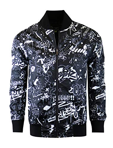 SCREENSHOT-S51050 Hip-Hop Urban Fashion Bomber Jacket - Outdoor Lightweight Streetwear Crazy Writing Cartoon Graffiti Print Zip Up Top-Black-Small