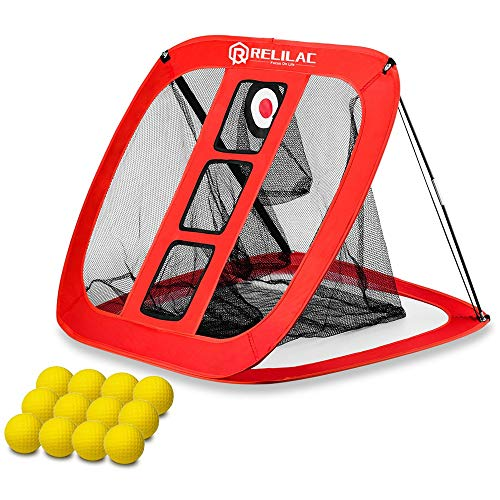 RELILAC Pop Up Golf Chipping Net with 12 Foam Training Balls - Indoor/Outdoor Golfing Target Accessories for Backyard Accuracy and Swing Practice - Great Gifts for Men, Dad, Husband, Women, Kid