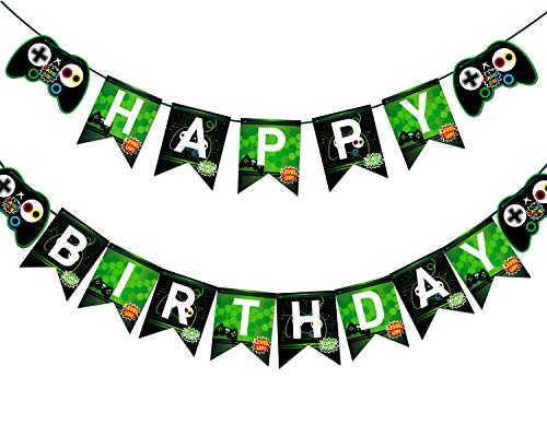 Video Game Happy Birthday Banner Gaming Party Supplies For Boy Gamers Birthday Party Favors