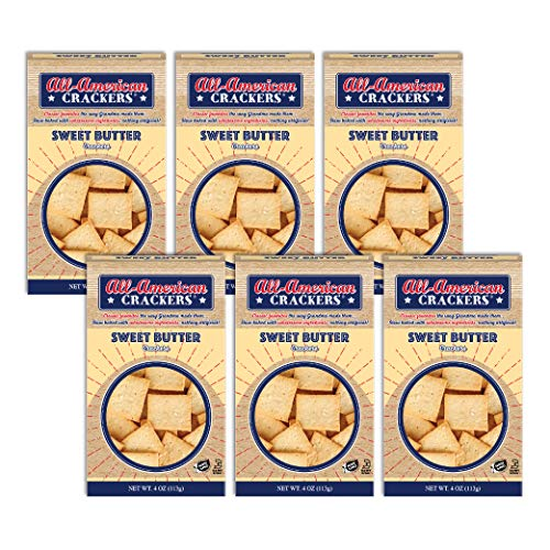 All-American Snack Crackers, Sweet Butter, 4 Ounce (Pack of 6), Made with Real Butter, Non-GMO, Kosher