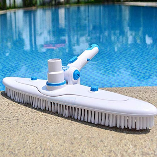 "Barcley Heavy Duty Pool Brush, Durable 17.7"" Swimming Pool Cleaner Brush Best for Tackling Stubborn Stains, Detachable Brush Back & Snap-on Adjustable Handle, for Concrete & Gunite Pools (White)"