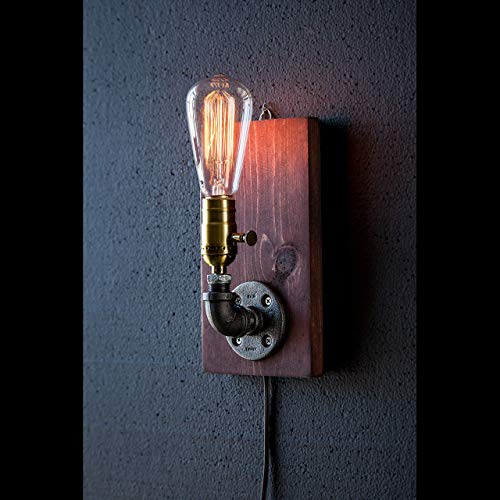 Plug in up facing Industrial Steampunk wall sconce pipe lamp with classic Edison bulb
