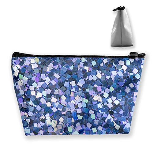 Abstract Blue Fashion Festive Glittery Makeup Bag Large Trapezoidal Storage Travel Bag Wash Cosmetic Pouch Pencil Holder Zipper