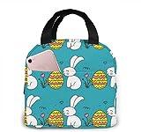 Huevo de Pascua Fun Lunch Bag Reutilizable Lunch Tote Travel Picnic Drawstring Bento Cooler Bag, Bolsillo delantero