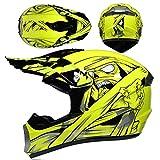 Casco de Moto, Casco de Motocross Niños Casco Integral MTB Todoterreno con Gafas Guantes Máscara, Equipo de Protección para Bicicleta de Montaña Eléctrico de Bici de Tierra Quad - Momia Amarilla