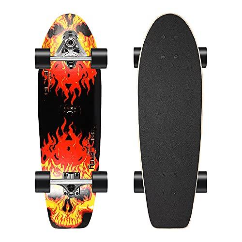 GUANGE Cruiser Skateboards Completa Madera Monopatin para Adulto para Niñas Niños Adolescentes 7 Capas de Madera de Arce con rodamientos ABEC-11 Tabla de Skateboard CX7 Truck 5' Carga Máxima 150 kg