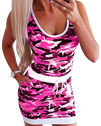 Yesgirl Vestido De Mujer Elegante Manga Corta Cuello Redondo Manga Corta A Rayas Minivestido Informal Largo Slim Fit para Verano Playa Fiesta Vestido hasta La Rodilla Z Rosa 38