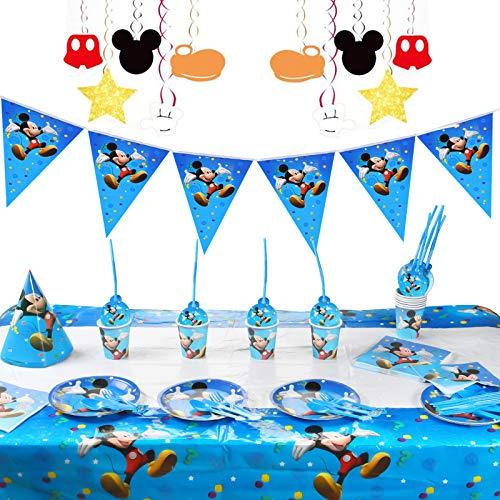 FGen Platos y Vasos Para Cumpleaños, Decoracion de Cumpleanos de, Taza Mickey Mouse, Mickey Plato Cuchillo Tenedor Cuchara Taza Paja Mantel Banderín Sombrero Servilleta Para Fiesta, 10 Invitados