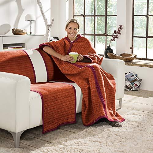 Ibena Fano Wohnmantel 150x200 cm – Kuscheldecke mit Ärmeln rot orange, mit praktischen Druckknöpfen und Reißverschluss, Ärmeldecke kuschelig weich und angenehm warm