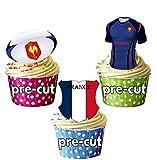 France Rugby Drapeau équipe pour homme, balle et Mix–12Comestibles Cup Cake Toppers Décorations