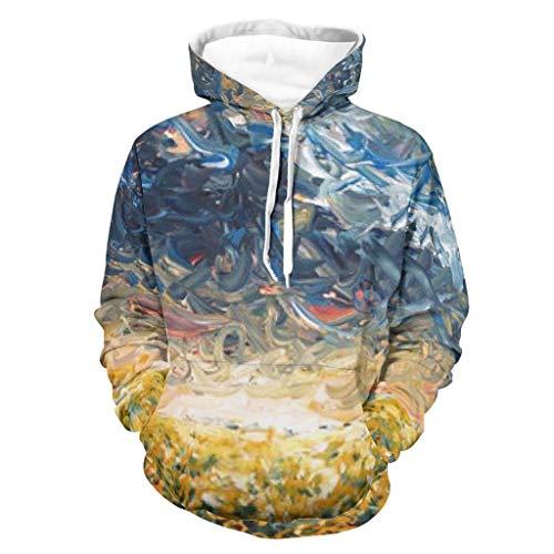 Lind88 Sudadera con capucha para hombre, diseño de girasol, color blanco, talla 5XL