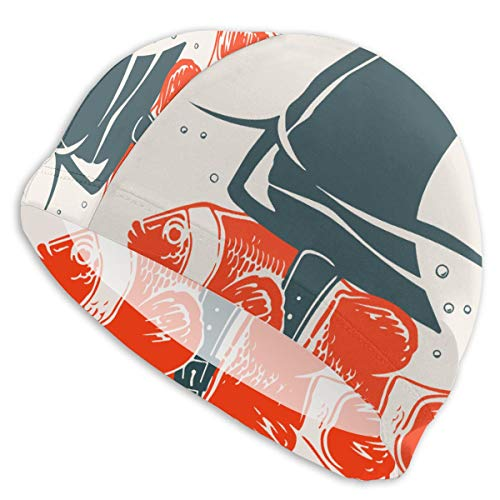 QINSDLF Swimming Caps for Mens Womens,Clown Fish with Shark Fin Fashion Lycra Swim Caps High Elasticity Bathing Cap Shower Hair Cover- Keeps Hair Protected for Water Sports Shower
