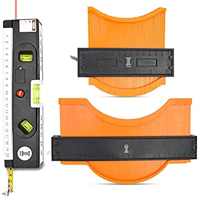 "WAK Contour Gauge Duplicator (10""+5"") With a Laser Level & Measuring Tape Leveler Tool-Contour Gauge,Profile Tool,Woodworking Templates, Tiles and Laminate Gadget for Men COMBO PACK"