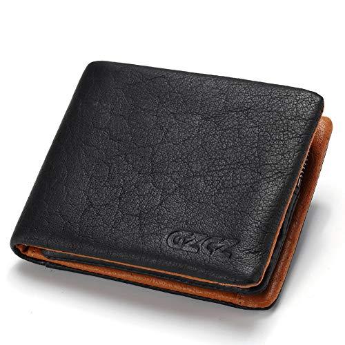 Mannen portemonnee slank lederen ontwerp reis credit kaart/beschermer muntzak Zwart-a