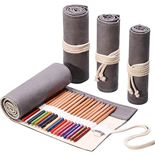 DIYOO Rotolo di Matita Colorata Rotolo di Tela Grigia Rotolo di Matita Avvolgere Borsa per Supporto Astuccio per matite Grigio 48 Fori