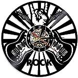 Chitarra orologio da parete orizzontale chitarra rock disco in vinile orologio da parete musica soggiorno decorazione disco led luce notturna 30x30 cm