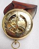 KHUMYAYAD Bussola in ottone da 3 pollici con bussola in pelle pura antica replica nautica bussola