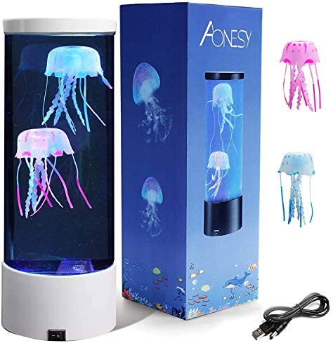 Electric Jellyfish Tank Table Lamp with 2 Silicone Jelly Fish LED Lava Lamps with Color Changing product image
