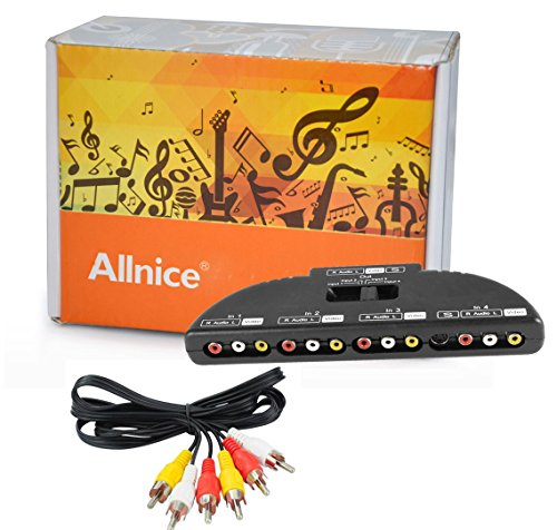 uxcell 4-Way Audio Video AV RCA Switch Game Selector Box Splitter Black