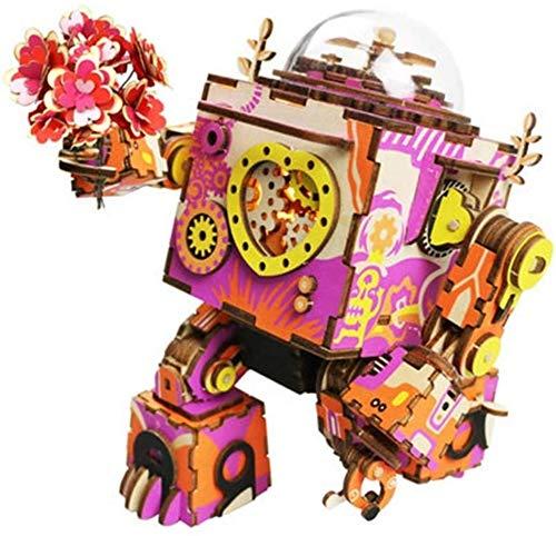Woodtree 3D Rompecabezas de Madera - DIY Robot Caja de música mecánica Construcción Kits - día/del cumpleaños de San Valentín for niños y niñas, Tamaño Nombre: Madera, Nombre de Color: Estilo-2