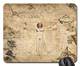 Mouse Pads - Collage Leonard Da Vinci Vitruvian Man Desktop Old