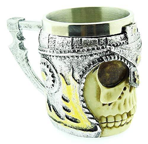 Tazza Teschio - Cranio con elmo - Scheletro - ossa - Acciaio inox - 3d - Boccale birra - Resina - Gotico - Bevande - Idea regalo originale - Maschio - Caffe - Guerriero Medievale - Vichinga