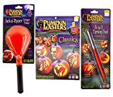 Jack-O-Lantern Complete Carving Kit (3 Pieces - Classics Pattern Collection Book, 4-in-1 Carving Tool, Jack-o-Ripper Scraper Scoop) Halloween Pumpkin