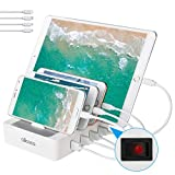 allcaca Station de Charge avec commutateur Chargeur USB Multiples 4 Ports Chargeur USB Support de Charge pour Apple iPhone iPad Samsung Smartphones Tablettes, 4 Cables Inclus, Blanc