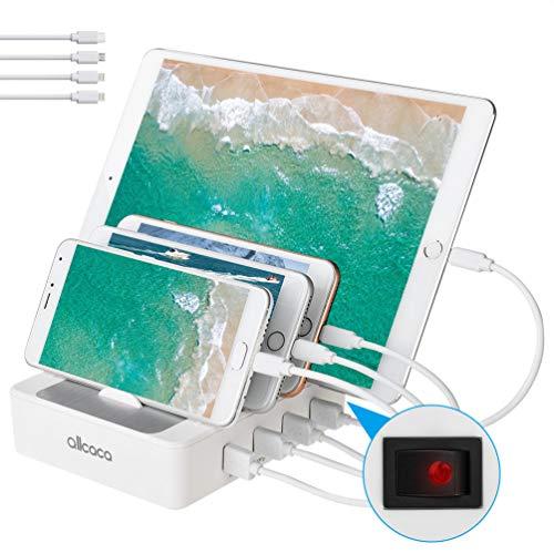 allcaca USB Ladestation 4-Port Dockingstation für Smartphone Tablet Android IOS Power Bank, 4 Kabel Included, Weiß