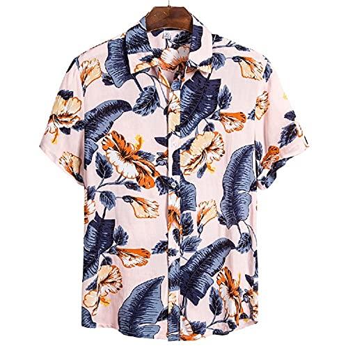 Shirt Ocio Hombre Regular Estampado Moda Vintage Hombre T-Shirt Transpirable con Cuello Kent Tapeta con Botones Shirt Manga Corta Viaje De Vacaciones Hawaii Hombre Shirt Playa CS115 XXL