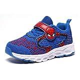 Zapatos para niños Spider-Man otoño línea de Vuelo Transpirable niños Zapatillas Antideslizantes Malla única Transpirable (35 EU,Azul)